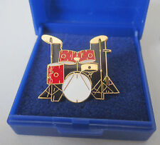 Drum Kit Lapel Pin Badge Brooch Red 5 Piece Music Drumkit Drums Set - GIFT BOXED