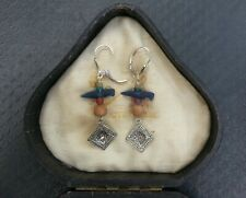 EARRINGS Roman beads antique birds, glass paste, carnelian + clay .925 Medieval