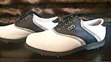 Women's  Foot-Joy White w/Black Saddle/Gator Classic DryJoys  Golf Shoes 6.5 M