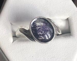 Rare Derbyshire Blue John Solid Silver 925 Twist Style Ring Size O  J1529