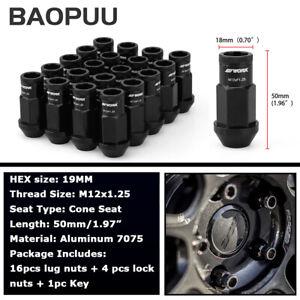 20PC M12x1.25 Extended Spline Lug Nuts Black Wheel Lock Nut 50mm Open End + Key