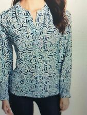 NWT NYDJ Not Your Daughters Jeans BLUE SKY GEO PRINT Long Sleeve Button Down M