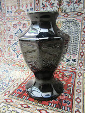 BUFF POTTERY VASE, BLACK GLAZE-GLASS LIKE. 30'S ART DECO ERA. COLLECTABLE *READ*