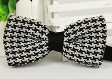 ZZBW233 Men's Black White Pattern Bowtie Knit Knitted Pre Tied Bow Tie Woven