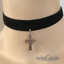 tour de cou Celtique Gothique Mariage Elfique Victorien Mode velours croix celte
