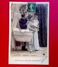 CPA. 1907. Couple et Bébé. BERCEAU. Bonheur Parfait. Stebbing.