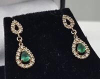 Art Deco 9ct Yellow Gold Emerald Diamond Pear Drop Dangle Earrings