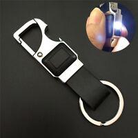 Men Creative Metal Leather LED Key Chain Ring Keyfob Car Keyring Keychain G DTR