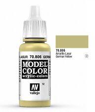 "Vallejo ""Model Color"" German Yellow Acrylic Hobby Paint: 17ml Bottle - 70.806"