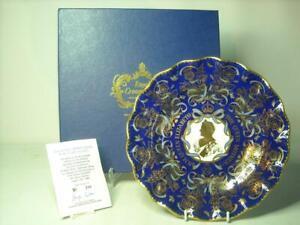 Royal Crown Derby QUEEN MOTHER 90TH BIRTHDAY Ltd Ed Plate Cobalt Blue Gold COA