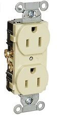 Hubbell CR15I Commercial Series Duplex Receptacle, Ivory/Sold In Pairs