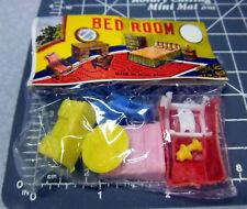 Vintage novelty 1960s BED ROOM FURNITURE kids toys miniature, new in bag, NICE