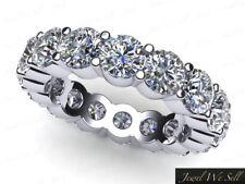 Natural 3.60Ct Round Diamond Classic Wedding Eternity Band Ring Platinum G Si1