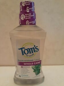 Tom's Of Maine Whole Care Mouth Wash Fresh Mint 16 Oz New