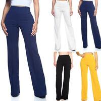 New Women High Waist Solid Zipper Loose Casual Wide-legged Trousers Pants S-2XL