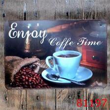 Enjoy Coffee Time Vintage Metal Tin Signs Plate Cafe Decor Art Wall Hanging