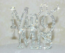 Elegant Font MR and MRS Silver Crystal Rhinestone Wedding Cake Topper USA Seller
