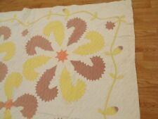 RARE Vintage Antique 1800s FEATHER ROSE CALIFORNIA PLUME Applique Quilt 78x72