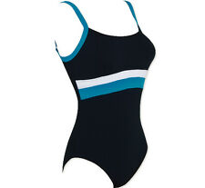 ZOGGS TORQUAY SCOOPBACK WOMENS SWIMMING COSTUME BLACK / BLUE SIZE 8 FREE POST