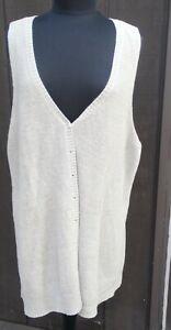 EILEEN FISHER XL, oversized sheer vest/sleeveless knit cardigan, 100% linen