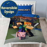 MINECRAFT GOODGUYS SINGLE DUVET COVER SET NEW & OFFICIAL 2 IN 1 DESIGN KIDS GAME