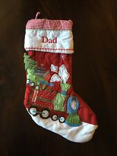 "NWOT ""Dad"" Monogram Pottery Barn Kids Quilted Red Christmas Stocking Train"