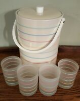 Georges Briard 4 Frosted Striped Retro/MCM Tumblers & Matching Ice Bucket Set