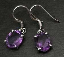 Amethyst oval drop earrings solid Sterling Silver, new, actual ones, 10 x 8mm.