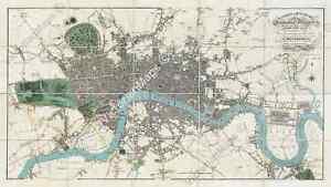 antique guide map historical plan London E. Mogg 1814 XLarge art print poster