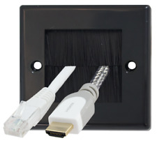 Black Single 1 Gang Brush Wall Outlet Cable Entry Plate Tidy Mount Wallplate
