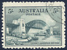 AUSTRALIA 1932 SYDNEY HARBOUR BRIDGE 5/- BLUE-GREEN VERY FINE CDS USED. SG 143.