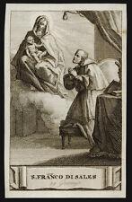 santino incisione 1800 S.FRANCESCO DI SALES