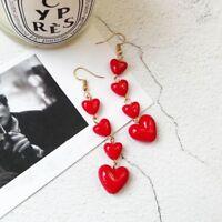 Women Cherry Red Love Heart Earring Long Drop Dangle Earrings Wedding Jewelry
