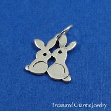 .925 Sterling Silver KISSING BUNNIES CHARM Love Bunnies PENDANT *NEW*