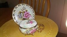 Vintage Royal Sealy Japan Pink and Gray Roses Lusterware Tri-Ring Footed