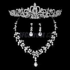 Wedding Bridal Prom Jewelry Set Crystal Diamante Necklace Earring Tiara Headband