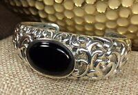 925 Sterling Silver Onyx Gemstone Carved Out Cuff Bracelet Fine Jewelry