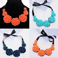 Fashion Women Pendant Chain Crystal Flowers Choker Chunky Bib Statement Necklace