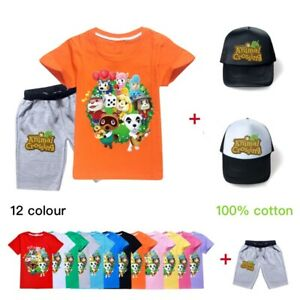 2020 Animal Crossing Cotton Home Children T-Shirts+Pants+Hat Kids Gifts 3Pcs/set