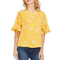 VINCE CAMUTO NEW Women's Printed Ruffle-sleeve Satin Blouse Shirt Top TEDO