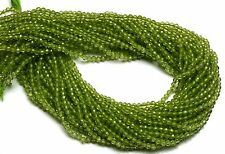 "NATURAL GEM PERIDOT 3MM APPROX FACETED ROUND BEADS 11"" STRAND OLIVE GREEN COLOR"