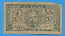 1947 Vietnam Dan Chu Cong Hoa 1 Dong $1 Note P-9d