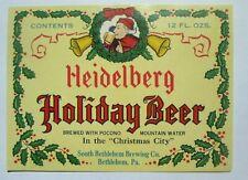 JE VINTAGE SOUTH BETHLEHEM BREWING CO BEER LABEL HOLIDAY CHRISTMAS BEER LABEL