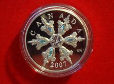2007 Proof $20 Silver Iridescent Swarovski Crystals Snowflake Piedfort - No Tax