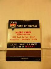 VINTAGE FRONT STRIKE FULL BOOK SONS OF NORWAY LIFE INSURANCE MATCHBOOK