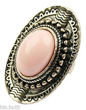 Bellissimo anello ovale vintage regolabile con centrale rosa antico - Bronzo