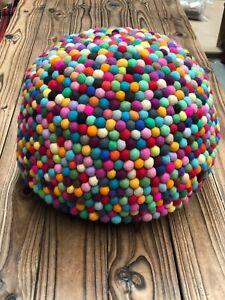 Felt Ball Ottoman Poof Nepalese Felt Ball Poof - Multicolour For Kids