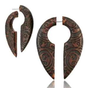 PAIR OF SONO WOOD LASER CUT TRIBAL FAKE CHEATER PLUGS SPIRALS PLUG