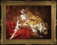 "Hand-painted Original Oil painting art nude girl and tiger on Canvas 30""X40"""