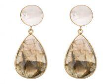 Gemshine Ohrringe 925 Silber vergoldet Labradorit Mondstein grau WEISS 5 Cm